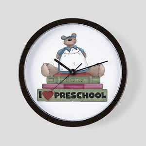 Bear and Books Preschool Wall Clock