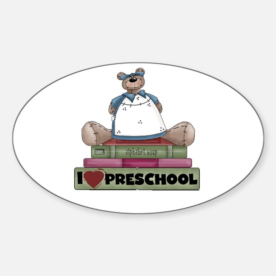 Bear and Books Preschool Oval Decal