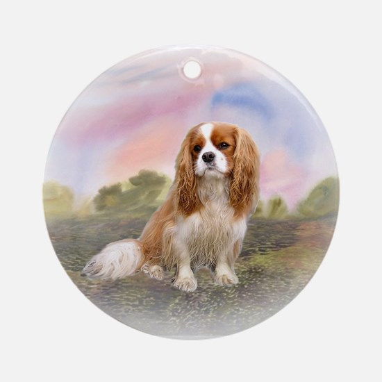 English Toy Spaniel portrait Ornament (Round)