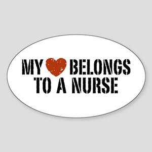 My Heart Belongs to a Nurse Oval Sticker