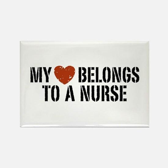 My Heart Belongs to a Nurse Rectangle Magnet