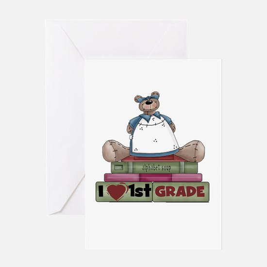 Bear and Books 1st Grade Greeting Card