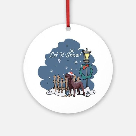 Let It Snow Chocolate Lab Ornament (Round)