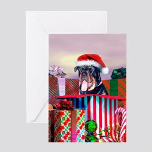Rottweiler Christmas Santa Claus Greeting Card