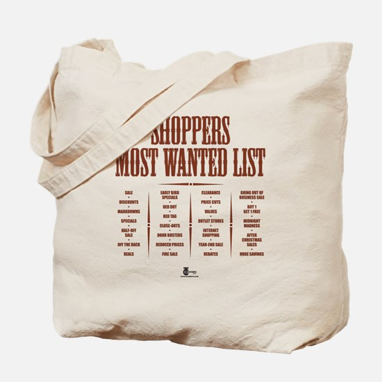 Shoppers Most Wanted List Tote Bag