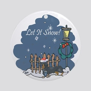 Let It Snow Dachshund Ornament (Round)