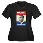 Obama JFK '60-Style Women's Plus Size V-Neck Dark