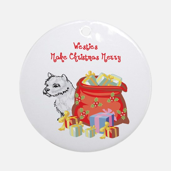 Merry Christmas Westie Ornament (Round)
