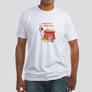 Merry Christmas St Bernard Fitted T-Shirt