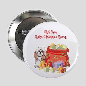"Merry Christmas Shih Tzu 2.25"" Button"