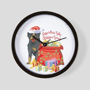 Merry Christmas Rottweiler Wall Clock