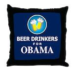 Beer Drinkers Obama Dark Throw Pillow