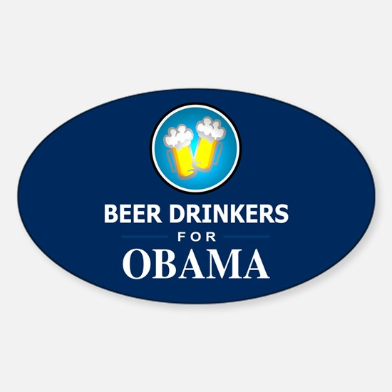 Beer Drinkers for Obama Oval Decal