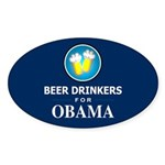 Beer Drinkers for Obama Oval Sticker (10 pk)