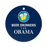 Beer Drinkers Obama Ornament (Round)