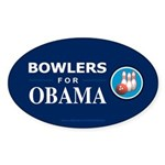 BOWLERS FOR OBAMA Oval Sticker (50 pk)