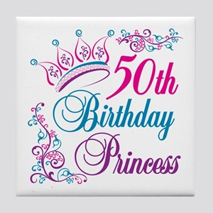 50th Birthday Princess Tile Coaster