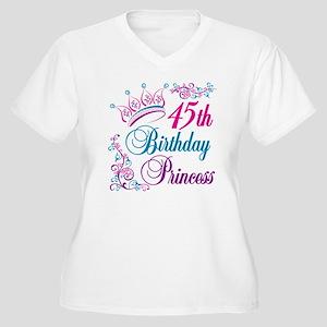 45th Birthday Princess Women's Plus Size V-Neck T-