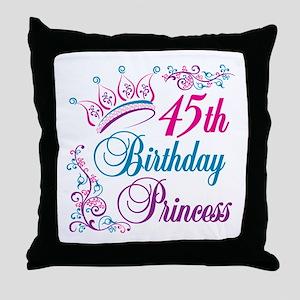45th Birthday Princess Throw Pillow
