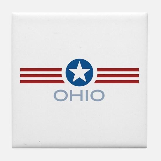 Star Stripes Ohio Tile Coaster