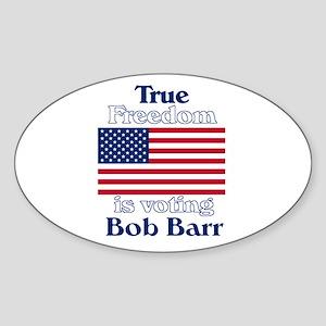 True Freedom Vote Bob Barr Oval Sticker