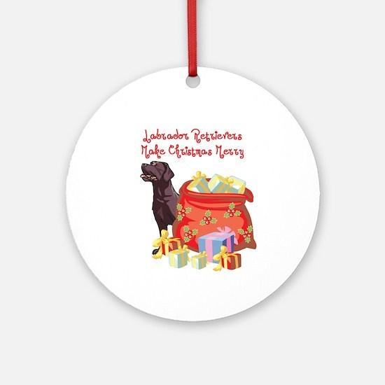 Merry Christmas Chocolate Lab Ornament (Round)