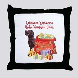 Merry Christmas Chocolate Lab Throw Pillow