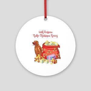 Merry Christmas Irish Setter Ornament (Round)