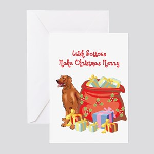 Merry Christmas Irish Setter Greeting Cards (Pk of