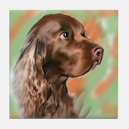 field spaniel portrait Tile Coaster