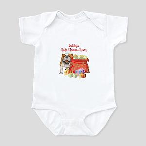 Merry Christmas Bulldog Infant Bodysuit