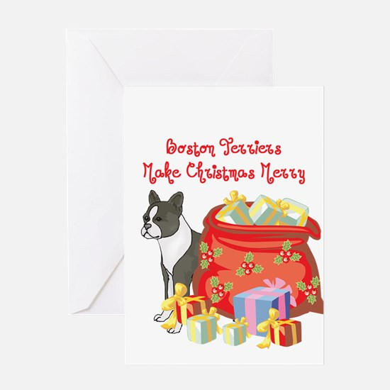 Merry Christmas Boston Terrier Greeting Card