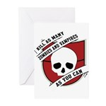 Kill As Many Zombies And Vamp Greeting Cards (Pk o