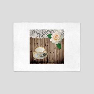 floral tea cup vintage 5'x7'Area Rug