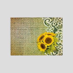 lace burlap sunflower western count 5'x7'Area Rug