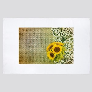 lace burlap sunflower western country 4' x 6' Rug