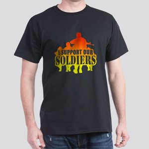 I support soldiers Red Yellow Dark T-Shirt