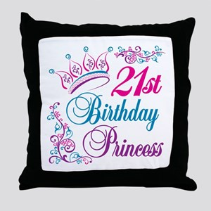 21st Birthday Princess Throw Pillow