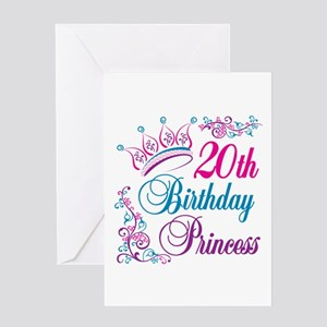 20th Birthday Princess Greeting Card