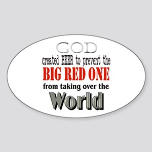 BR1, God & Beer Oval Sticker
