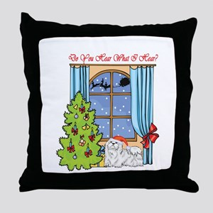 Maltese Christmas Throw Pillow