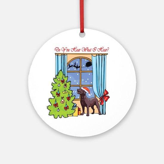 Chocolate Lab Christmas Ornament (Round)