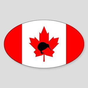 Canadian Flag Kiwi Oval Sticker