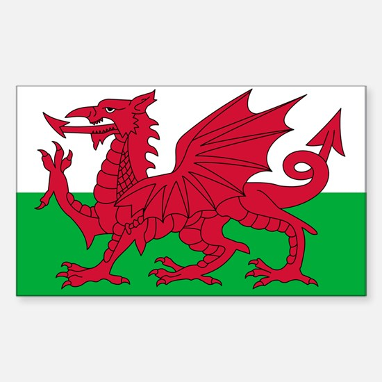 Welsh flag of Wales Rectangle Decal