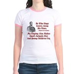Cervantes Quote, He Who Sings Jr. Ringer T-Shirt
