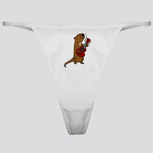 Sea Otter Playing Guitar Classic Thong