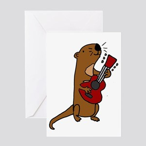 Sea Otter Playing Guitar Greeting Cards