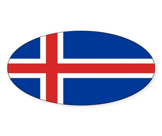 Flag of iceland sticker oval