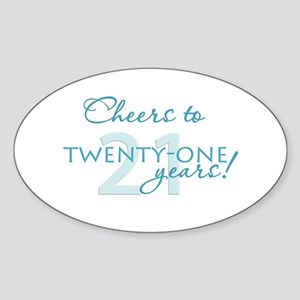 Cheers to 21 Oval Sticker