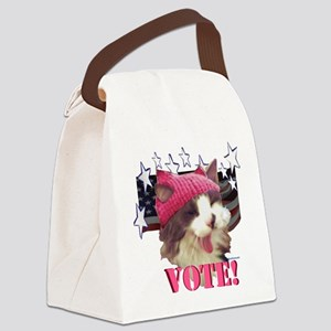 Pink Hat Cat Canvas Lunch Bag
